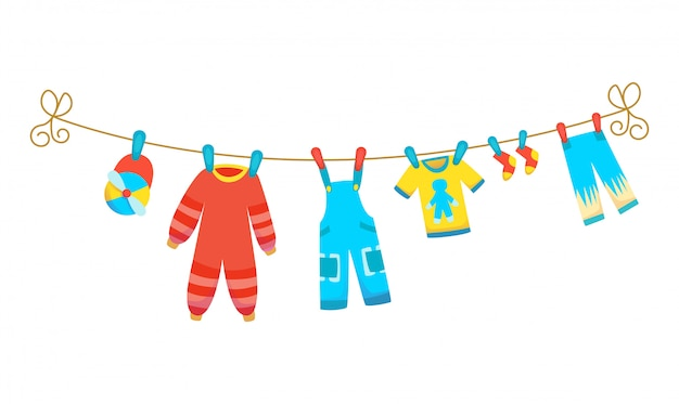 Vários itens de roupas de bebê na corda isolada. lavanderia realizada por estacas de plástico de secagem. Vetor Premium