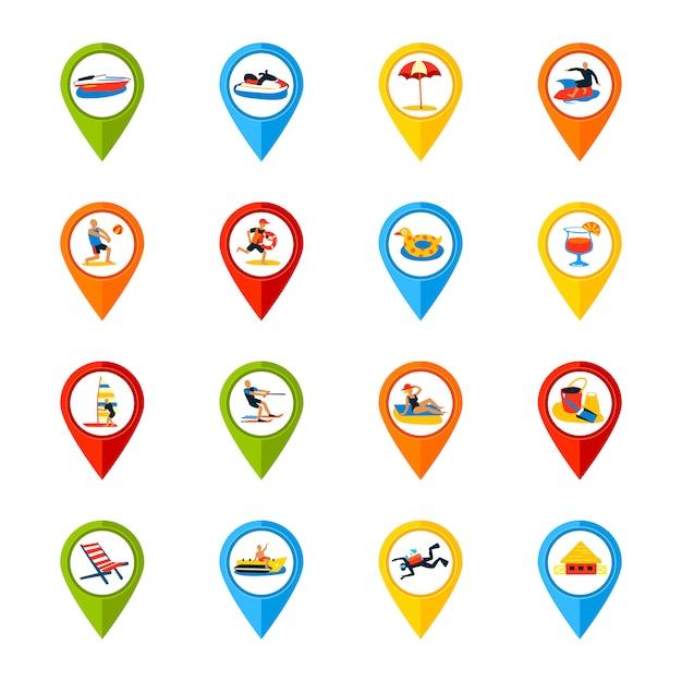 Vários, locais, sinais, coloridos, ícones, jogo Vetor grátis