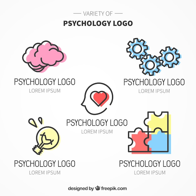 Vários logotipos psicologia com cor Vetor grátis