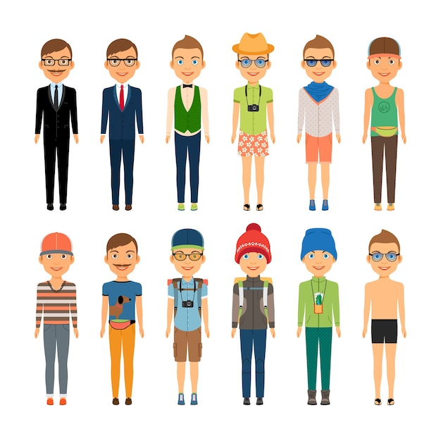 Vários meninos bonitos de desenho animado em diversos estilos de roupas - viagens de negócios na praia e moda casual - isolado no fundo branco Vetor grátis