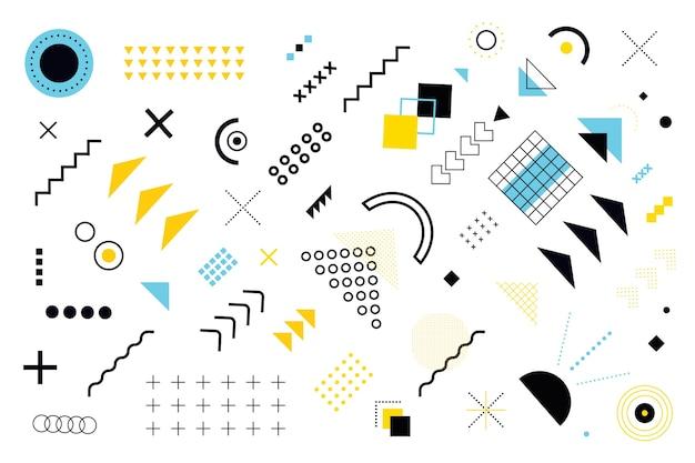 Vários modelos e formas geométricas de fundo Vetor Premium
