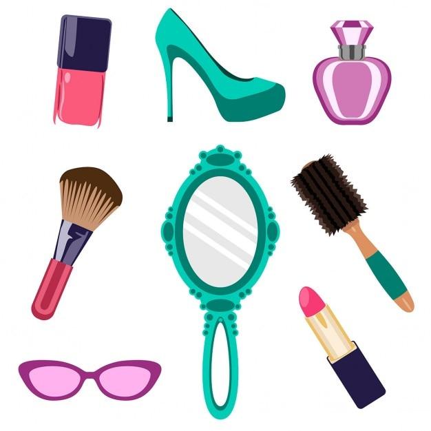 Vários objetos de beleza feminina Vetor grátis