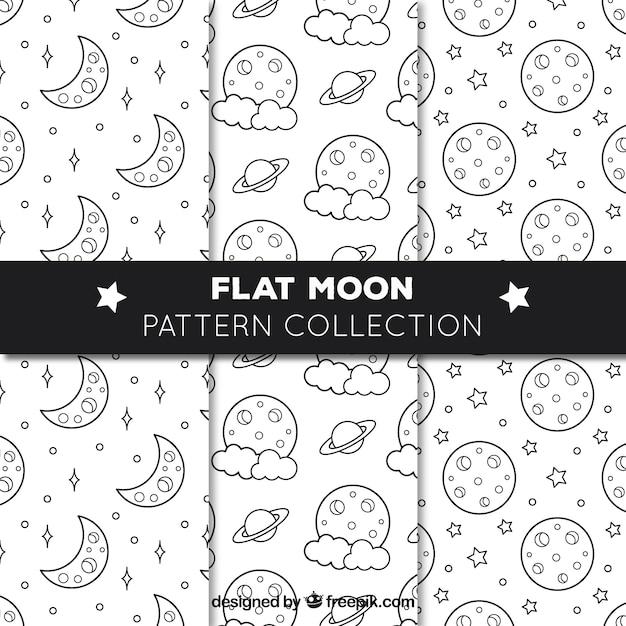 Vários padrões planos com luas e estrelas Vetor grátis