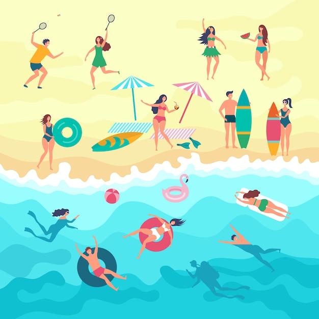 Vários povos masculinos, femininos e crianças brincando na praia. atividades ao ar livre no verão Vetor Premium