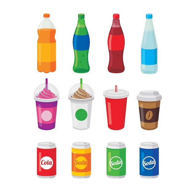 Vários refrigerantes em garrafas e latas, um copo de café e cola vector illustration Vetor Premium