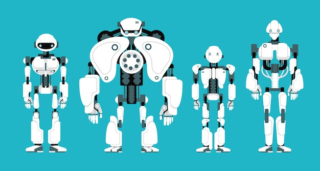Vários robôs andróides Vetor Premium