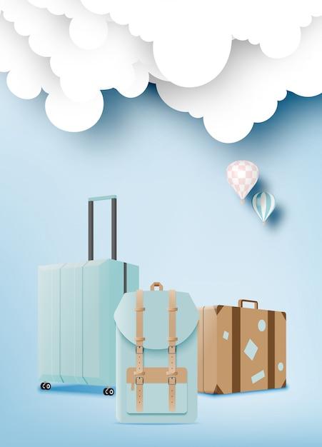 Vários saco e bagagem para viagem Vetor Premium