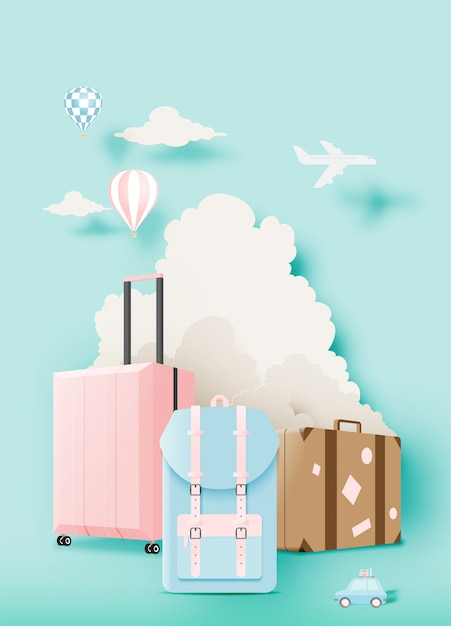Vários saco e bagagem para viajar em estilo de arte de papel Vetor Premium