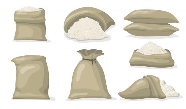 Vários sacos de arroz branco conjunto plano Vetor grátis