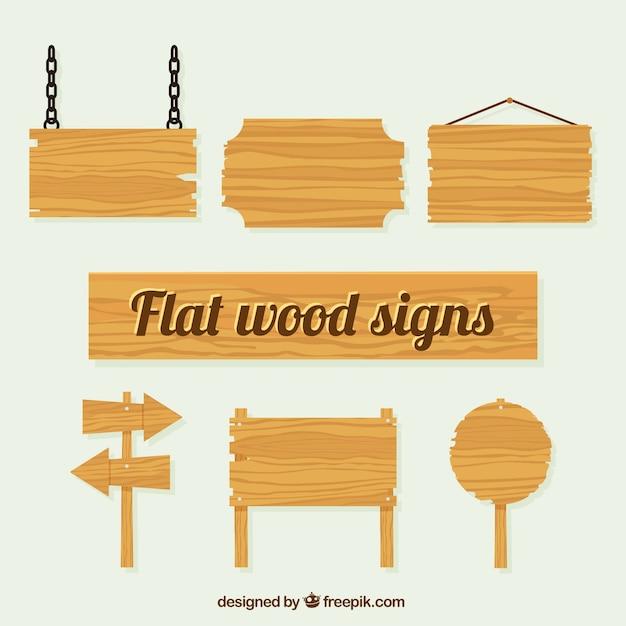 Vários sinais de textura de madeira Vetor Premium