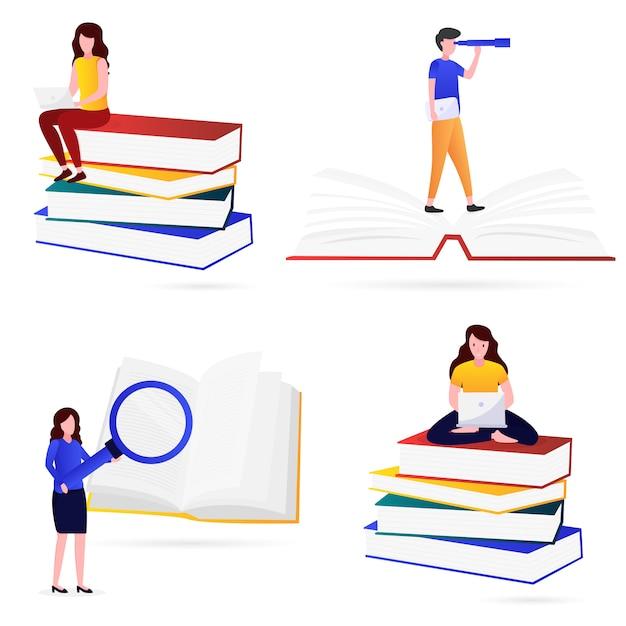 Vários tipos de ilustração do conhecimento Vetor Premium