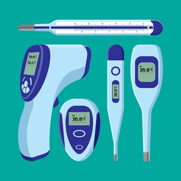 Vários tipos de termômetros design plano Vetor grátis