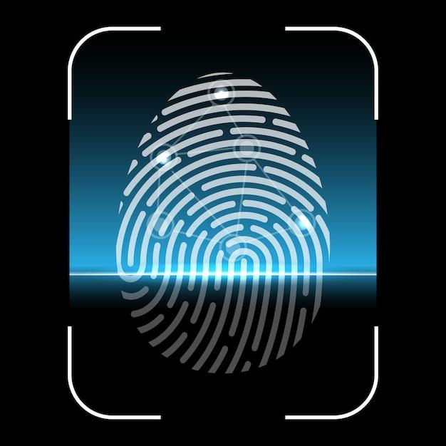 Varredura biométrica de impressões digitais, sistema de identificação Vetor Premium