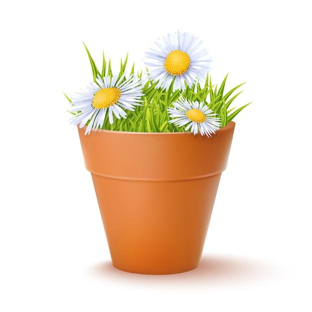 Vaso de flores com flores Vetor Premium