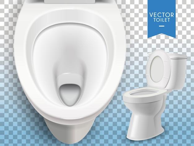 Vaso sanitário branco isolado em fundo transparente Vetor Premium