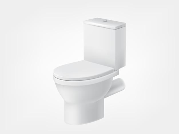 Vaso sanitário com tampa branca maquete Vetor Premium