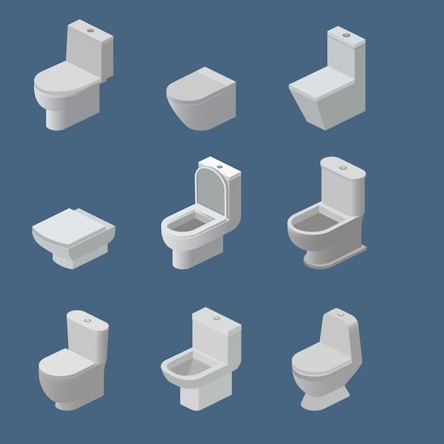 Vaso sanitário e assento vetor ícones isométricos produtos de higiene pessoal nivelados e equipamentos de banheiro Vetor Premium