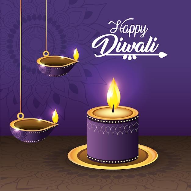 Vassel de diwali e vela lits com mandala Vetor Premium