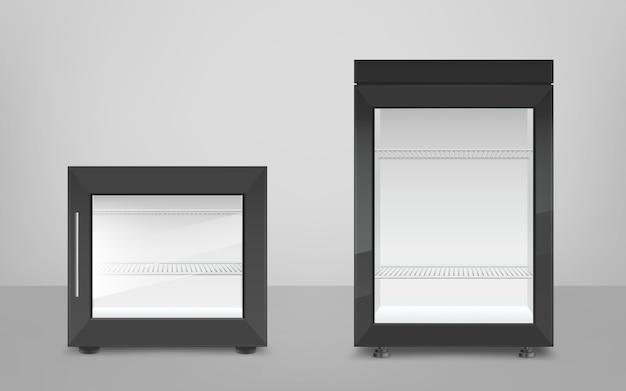Vazia mini geladeira preta com porta de vidro Vetor grátis