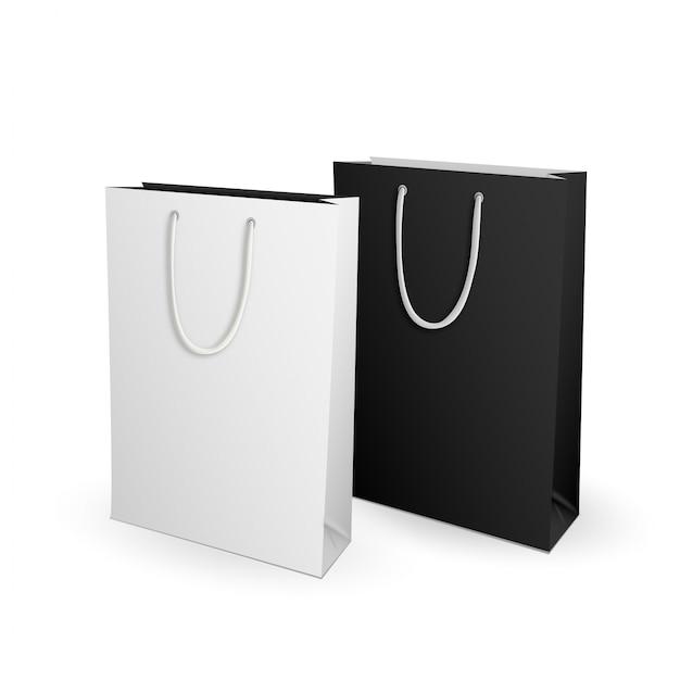 Vazio branco e preto mock up modelo sacola para publicidade e branding Vetor Premium