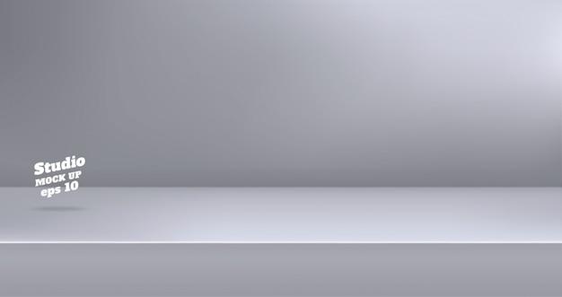 Vazio moderno cor cinza studio tabela quarto fundo Vetor Premium