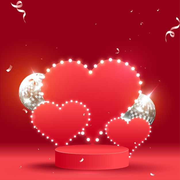 Vazios marquee hearts com realistic disco balls on red background. Vetor Premium