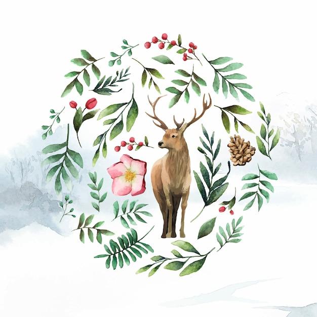 Veado cercado por vetor de aquarela de flor de inverno Vetor grátis