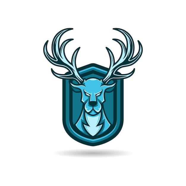 Veado do logotipo da mascote azul com fundo do escudo. prêmio Vetor Premium