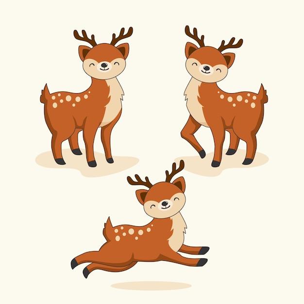 Veado dos desenhos animados animais fofos Vetor Premium