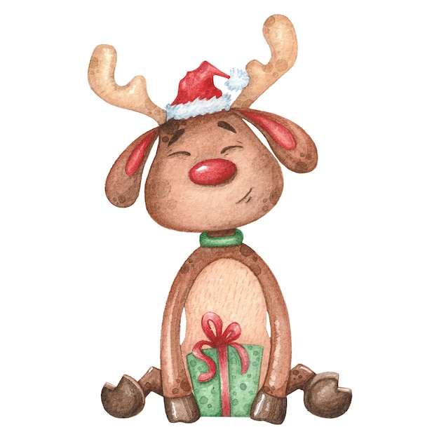 Veado em aquarela com presente. natal mão ilustrações desenhadas Vetor Premium