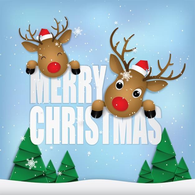 Veado feliz feliz natal. Vetor Premium