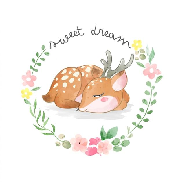 Veado fofo dormindo no círculo flores frame ilustração Vetor Premium