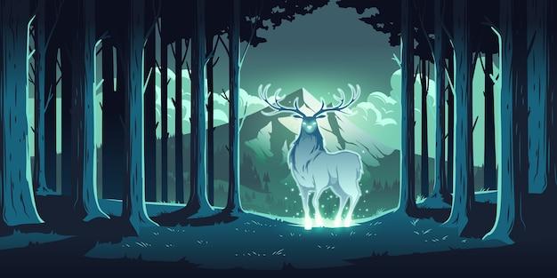 Veado mágico na floresta noturna, veado místico com olhos e corpo brilhantes, alma da natureza, protetor de madeira, animal totêmico em árvores e paisagem montanhosa, renas majestosas, ilustração de desenho animado Vetor grátis