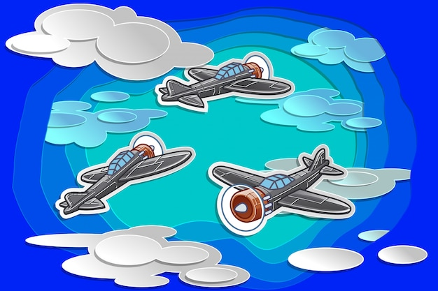 Vector 3 avião estão voando no céu com estilo de corte de papel. Vetor Premium