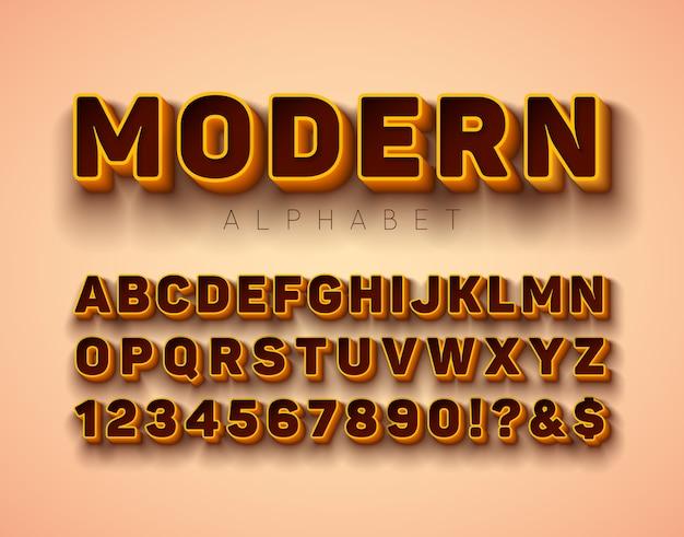 Vector 3d fonte do alfabeto com moldura e sombra Vetor Premium
