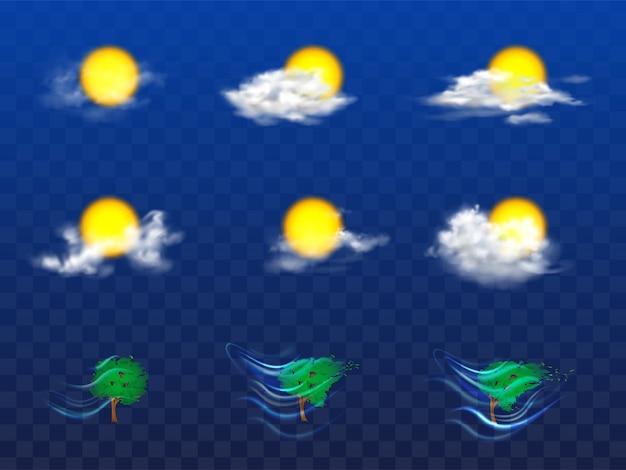 Vector 3d realista conjunto com elementos de previsão do tempo Vetor grátis