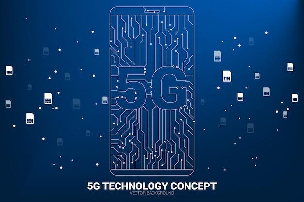 Vector 5g ponto conectar linha placa de circuito ícone do telefone móvel. conceito para transferência de dados da rede de dados móveis. Vetor Premium