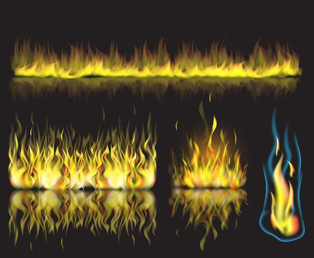 Vector a ilustração com grupo de chamas ardentes do fogo no fundo preto. Vetor Premium
