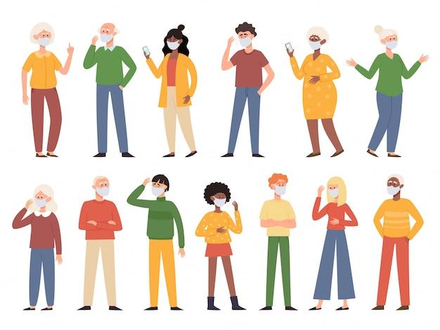 Vector a ilustração com homens e mulheres velhos e novos de pé na máscara protetora médica isolada no branco. caracteres diferentes em máscaras de prevenção contra poluição do ar urbano, doenças transmitidas pelo ar, coronavírus. Vetor Premium