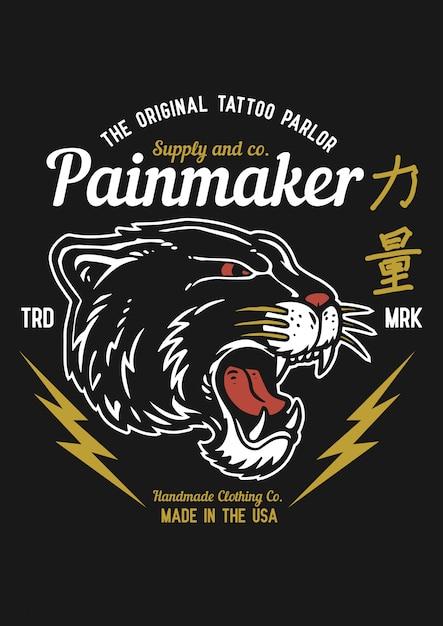 Vector a ilustração da cabeça preta do puma no estilo do gráfico da tatuagem do vintage. o kanji japonês significa força Vetor Premium