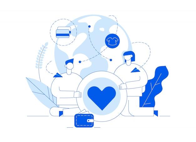Vector a ilustração de serviço de doação com grandes pessoas, coração, terra, voluntariado homem e mulher Vetor Premium