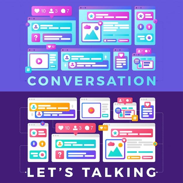 Vector a ilustração de um conceito de comunicação de mídia social. a conversa de palavra com janelas do navegador multi-plataforma coloridas Vetor Premium
