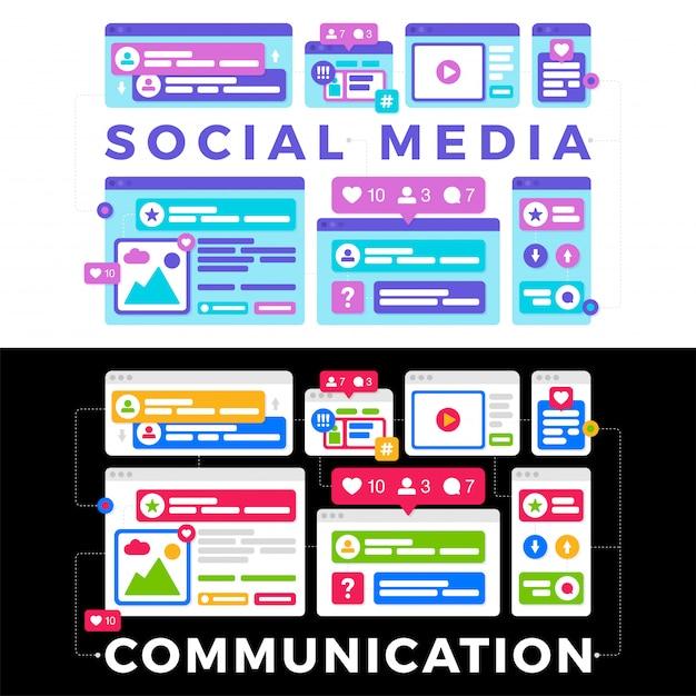 Vector a ilustração de um conceito de comunicação de mídia social. a palavra mídia social com janelas do navegador colorido multi-plataforma Vetor Premium