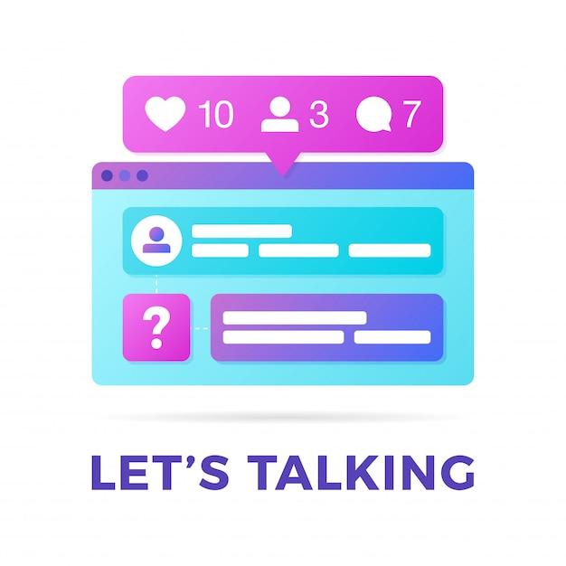 Vector a ilustração de um conceito de comunicação de mídia social. a palavra permite falar com as janelas do navegador de várias plataformas coloridas Vetor Premium