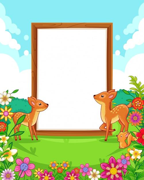 Vector a ilustração de veados bonitos com sinal em branco de madeira no parque Vetor Premium