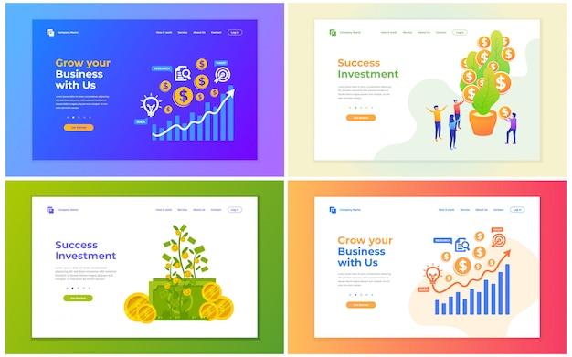 Vector a ilustração do investimento, financeiro, e crescimento do negócio. conceitos modernos da ilustração do vetor para o desenvolvimento do web site e do web site móvel. Vetor Premium