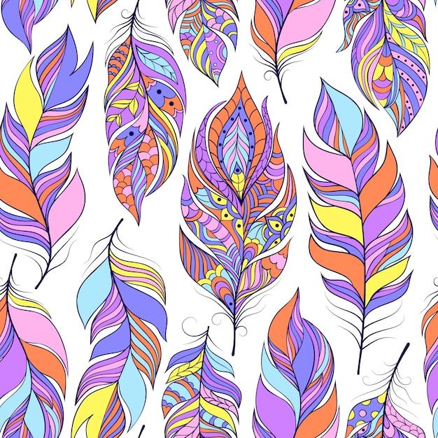 Vector a ilustração do padrão sem emenda com penas abstratas coloridas Vetor Premium