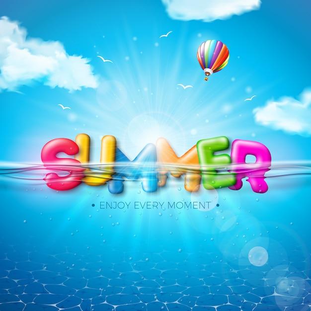Vector a ilustração do verão com letra colorida da tipografia 3d no fundo azul subaquático do oceano. projeto de férias de férias realista Vetor grátis
