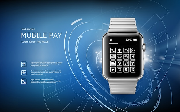Vector a ilustração em um estilo realista o conceito de pagamentos eletrônicos usando o aplicativo em seu relógio de pulso. Vetor grátis