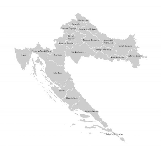 Vector a ilustração isolada do mapa administrativo simplificado da croácia Vetor Premium
